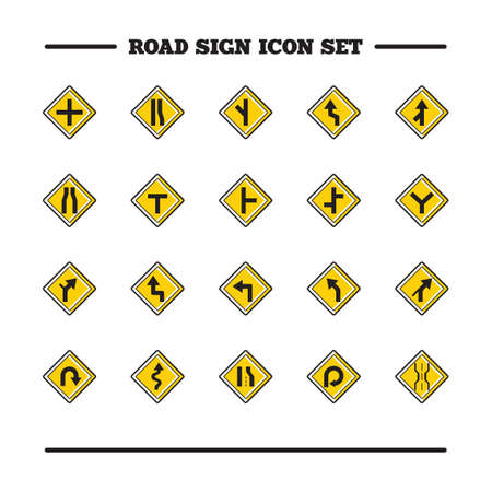narrows: Set of road sign icons Illustration