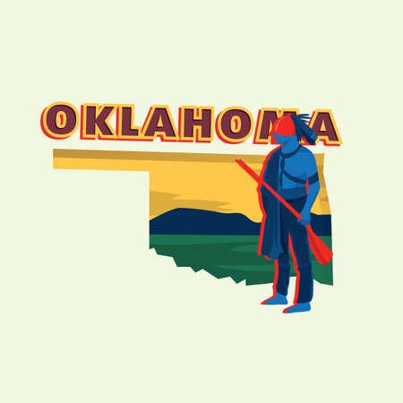 oklahoma: Oklahoma map Illustration