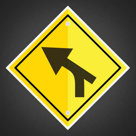 intersection: Left curve out intersection warning Illustration