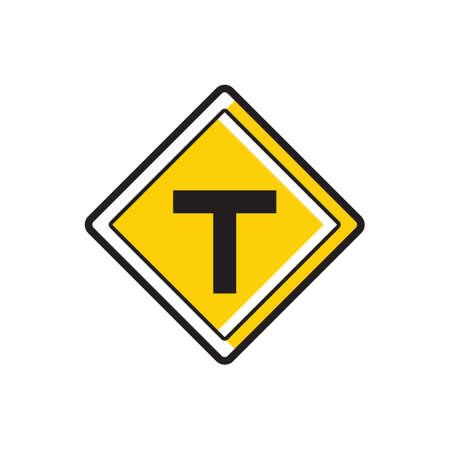 slow lane: T roads sign Illustration