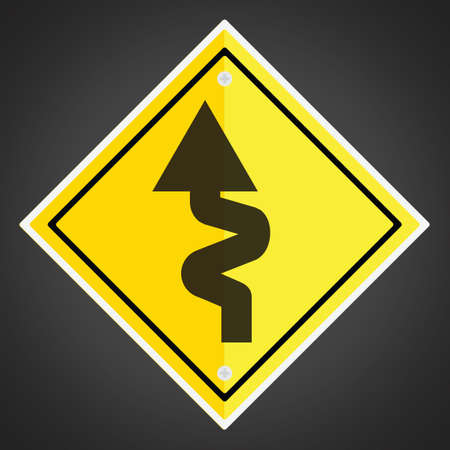 winding: Left-sided winding road sign