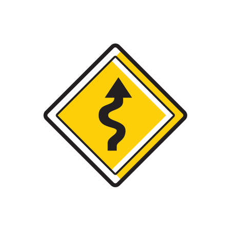 winding: Right-sided winding road sign