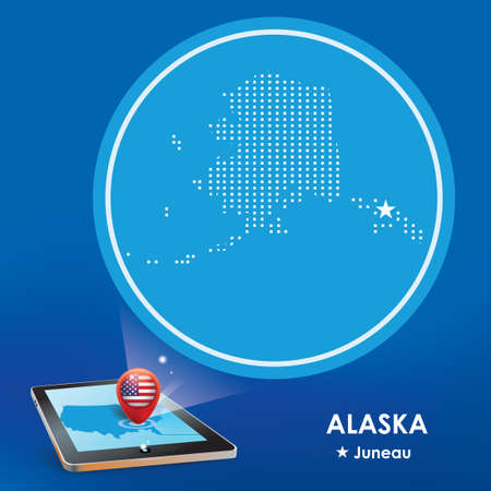 alaska map: Tablet pc with alaska map projection