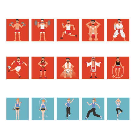 man working out: Collection of different fitness activities