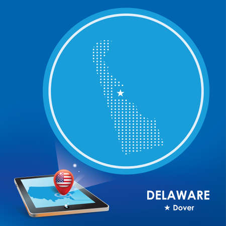 dover: Tablet pc with delaware map projection