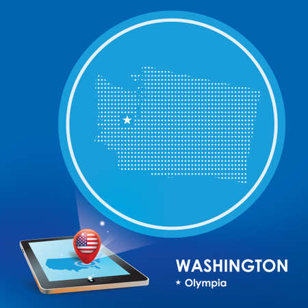 projection: Tablet pc with washington map projection