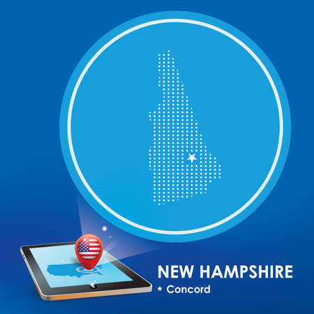 hampshire: Tablet pc with new hampshire map projection