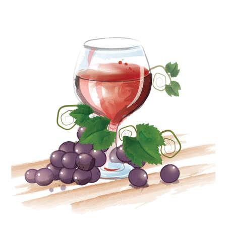ブドウとワインのグラス  イラスト・ベクター素材