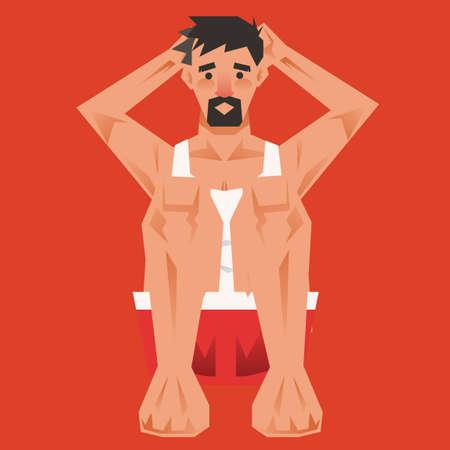 crunch: Man doing crunch exercise Illustration