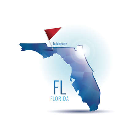 tallahassee: Florida map with capital city Illustration