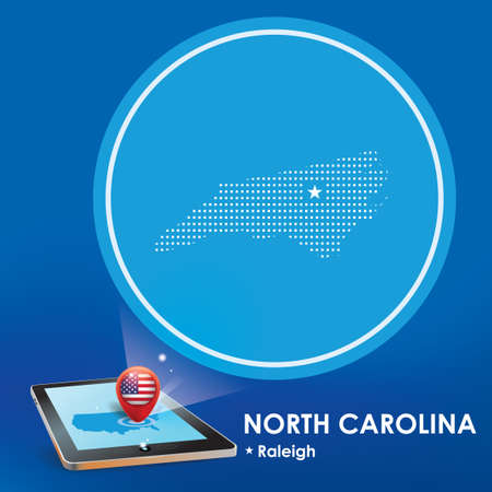 projection: Tablet pc with north carolina map projection