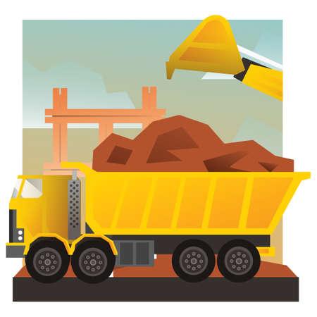 loading truck: Excavator loading truck