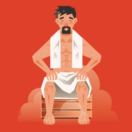 Man taking sauna