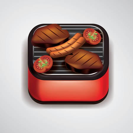 meat grill: Food on grill Illustration