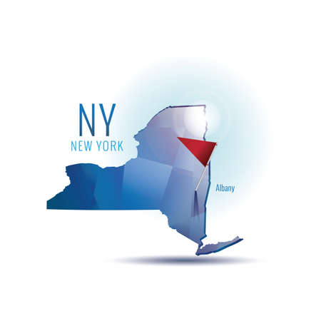 albany: New york map with capital city