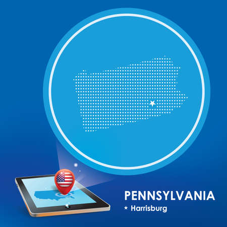 projection: Tablet pc with pennsylvania map projection