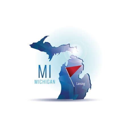 michigan: Michigan map with capital city