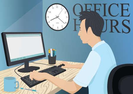 work table: Man working on desktop at office Illustration