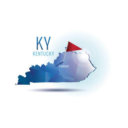 Kentucky mappa con la capitale Archivio Fotografico - 43309344