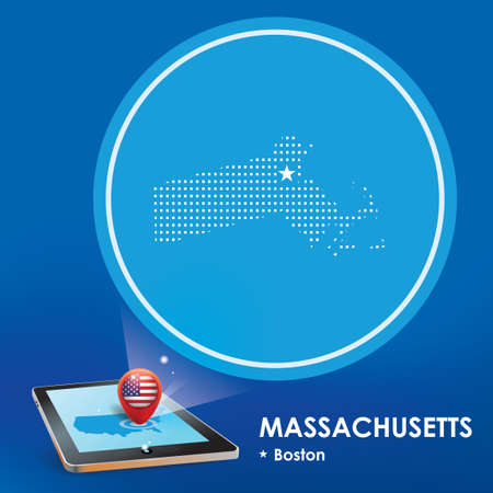projection: Tablet pc with massachusetts map projection Illustration