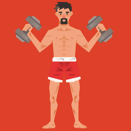 workout gym: Man working out with dumbbells Illustration