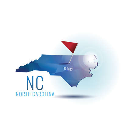 North carolina map with capital city 向量圖像