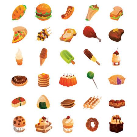 turkish dessert: Set of food icons