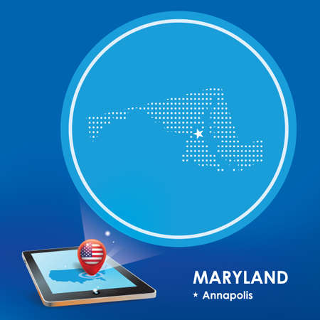 maryland: Tablet pc with maryland map projection