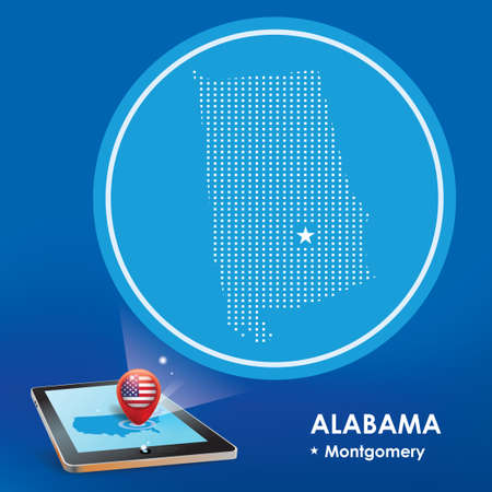 alabama: Tablet pc with alabama map projection