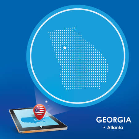 Tablet pc with georgia map projection