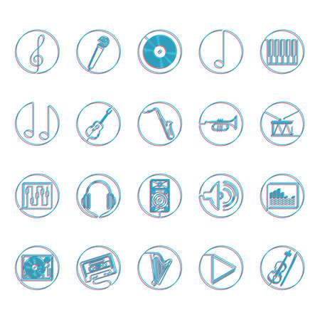 minim: Collection of music icons Illustration