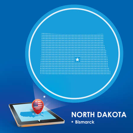 projection: Tablet pc with north dakota map projection