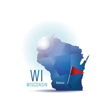 wisconsin flag: Wisconsin map with capital city