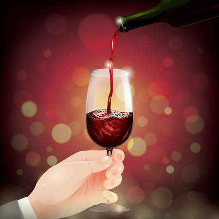 pouring: Wine pouring into glass