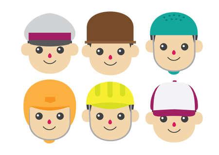 wearing: Boy wearing different headwear Illustration