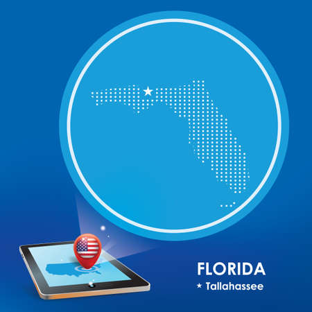 Tallahassee: Tablet pc with florida map projection