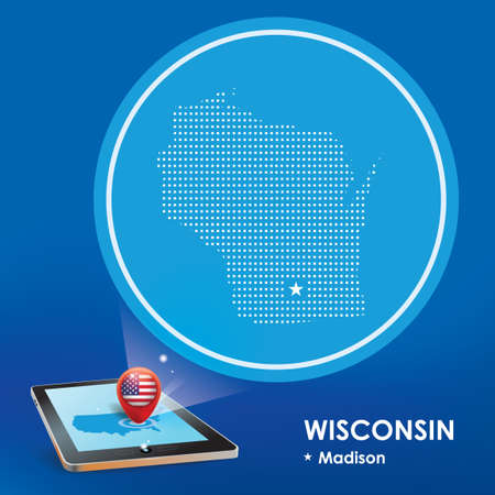 wisconsin: Tablet pc with wisconsin map projection