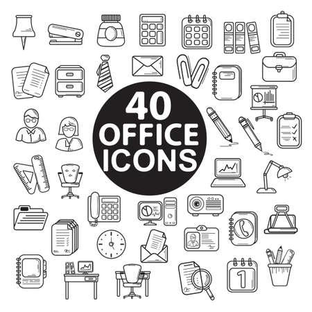 Conjunto de iconos de oficina Foto de archivo - 43309202