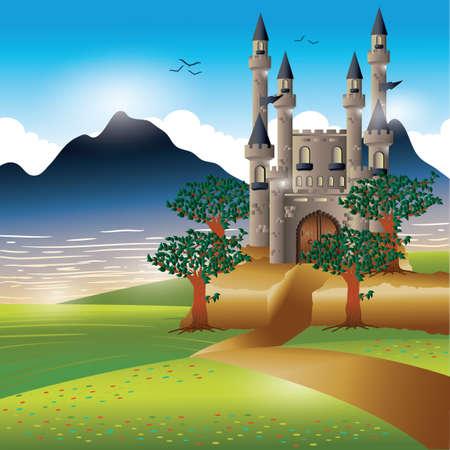 Castle at riverside Illusztráció
