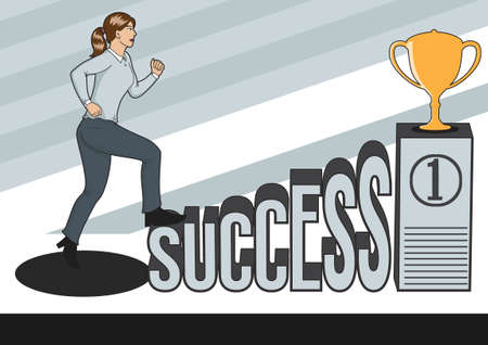 sucess: Woman climbing onto the word sucess