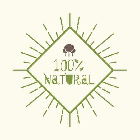 Etiqueta naturales cien por ciento Foto de archivo - 43309090