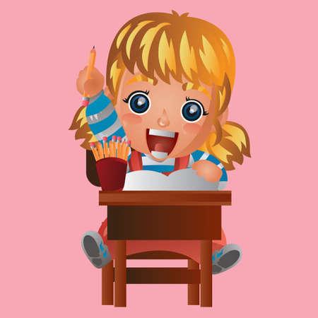 looking: Girl looking happy Illustration