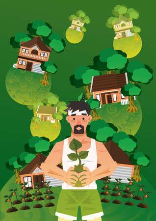 sapling: Man holding sapling