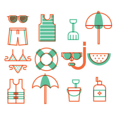 pail tank: Set of summer icons