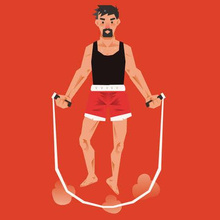 man jumping: Man jumping with skipping rope