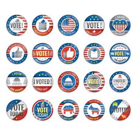 Conjunto de insignias de voto Foto de archivo - 43308970