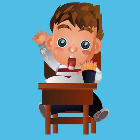 looking: Boy looking shocked Illustration