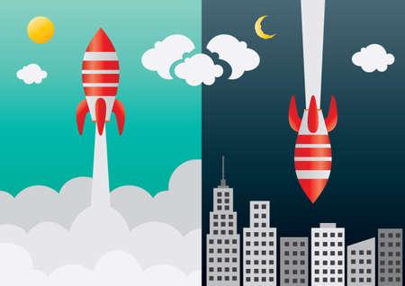 space: Space rocket flying in space