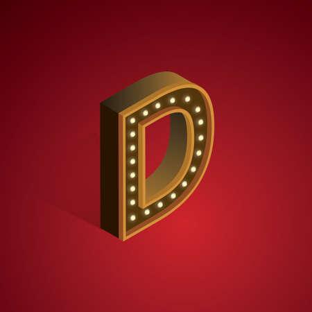 d: Isometric alphabet D Illustration