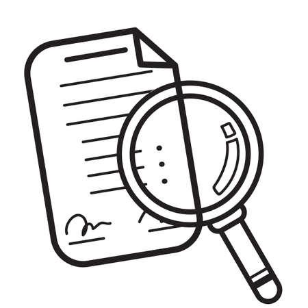 Paper and magnifying glass Ilustração